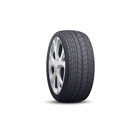 Realistic car wheel with black tire and grey steel rim seen from side view isolated on white background. Modern automobile part or spare tyre - vector illustration.