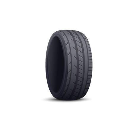 Realistic car tyre isolated on white background - black rubber wheel rim protector tire with modern tread pattern and round disk shape. Auto repair part - vector illustration.
