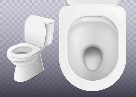 White clean ceramic toilet from top and side view isolated on transparent background - realistic bathroom equipment with sparkly clean shiny surface, vector illustration