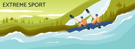 Extreme sport banner - cartoon people kayaking in strong river stream and rowing with paddles. Two people navigating blue kayak boat - flat vector illustration.  イラスト・ベクター素材