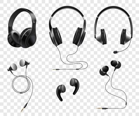 Set of realistic wireless and corded headphones and earphones 3d vector illustration isolated on transparent background. Music and sound gadgets or dj equipment.