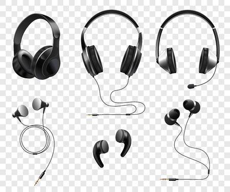 Zestaw realistycznych bezprzewodowych i przewodowych słuchawek i słuchawek 3d wektor ilustracja na przezroczystym tle. Gadżety muzyczne i dźwiękowe lub sprzęt dj.