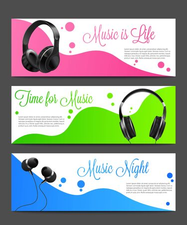 Set of abstract backgrounds for dance music party or discotheque flyer template with headset - vector illustration. Colorful layouts collection with headphones.