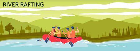 Banner de rafting en el río - gente de dibujos animados navegando en bote inflable naranja en la corriente de agua. Aventura de verano de deporte extremo en paisaje de montaña - ilustración vectorial plana