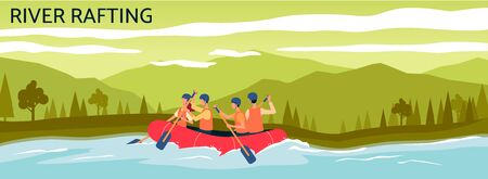 River rafting banner - cartoon people navigating orange inflatable boat in water stream. Extreme sport summer adventure in mountain landscape - flat vector illustration Иллюстрация