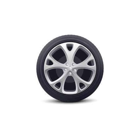 Car wheel single isolated object realistic vector illustration on white background. Automobile vehicle element for repair workshops and car parts dealers advertising.