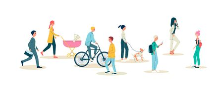Crowd of diverse urban people walking down street, hurrying to work and riding bicycle, flat vector illustration isolated on background. Men and women cartoon characters. Banque d'images - 133494027