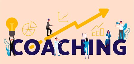 Coaching or business training concept with people cartoon characters rising on arrow to success and directed by coach, flat vector illustration isolated on background.