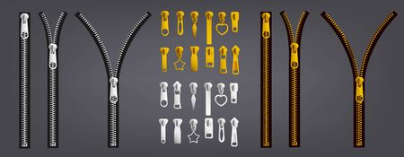 Realistic silver and gold zipper set with differently shaped puller and open and closed black tape. Metal zip fastener collection on gray background - vector illustration