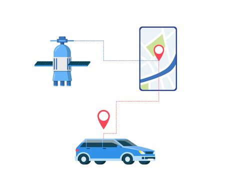 GPS car location tracking app connection scheme - space satellite connected to smartphone with map interface and automobile with tracker icon. Flat isolated vector illustration.