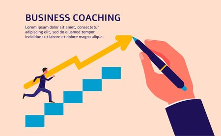 Business coaching banner template with businessman cartoon character climbing stairs and led to success by coaches hand, flat vector illustration isolated on background.