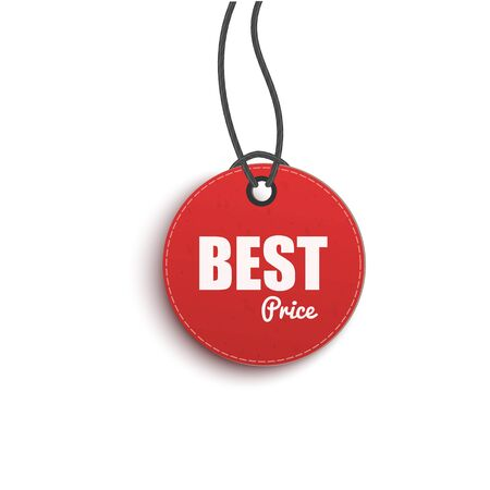 Best choice circle paper price red hanging tag, 3d realistic vector illustration isolated on white background. Discount and sales advertising or Promotional label.