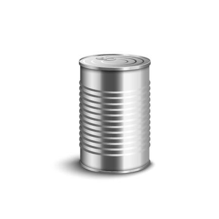 Boîte de conserve en aluminium ondulé non emballé fermée vue latérale 3d illustration vectorielle réaliste isolée sur fond blanc. Conservez le pot cylindrique pour la présentation de l'emballage.