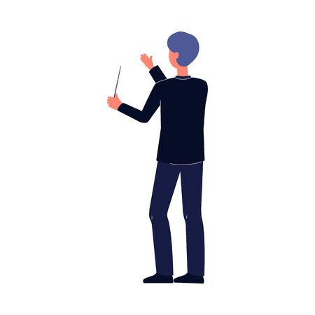 Orchestra conductor man holding baton stick and doing conducting hand gesture. Cartoon character performing in music event - isolated flat vector illustration.