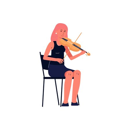 Symphonic orchestra professional music player - woman cartoon character in concert black dress playing violin flat vector illustration isolated on white background. Ilustrace