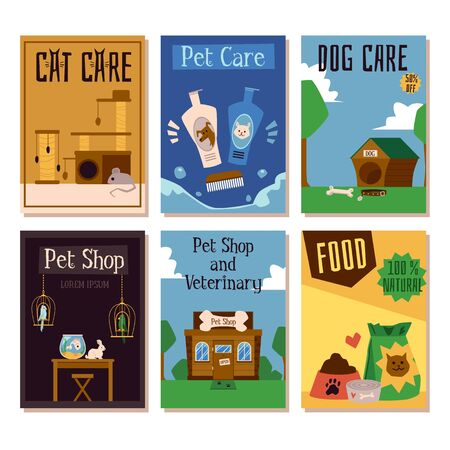 Pet shop and veterinary clinic cards or banners with animals cartoon characters. Dogs and cats feed and pets treatment items - flat cartoon vector illustration set.