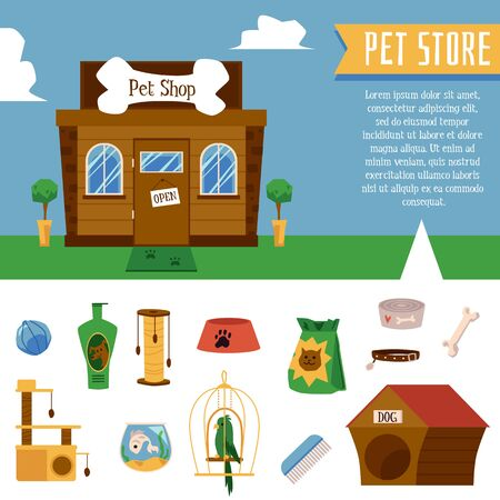 Pet shop or zoo store banner with building facade and domestic animals treatment and care elements set, flat cartoon vector illustration isolated on white background.
