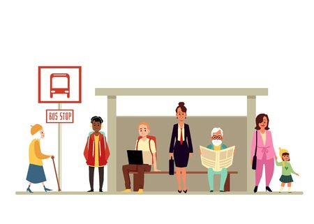 Diverse age and gender crowd of people cartoon characters waiting vehicle at bus stop, flat vector illustration isolated on white background. Passengers and transportation.