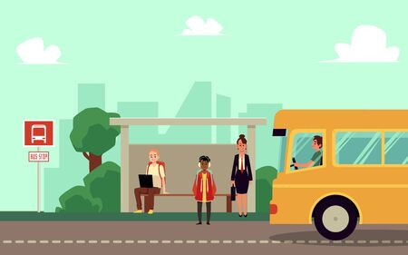 Teacher and pupils, adult and children cartoon characters waiting school bus at stop, flat vector illustration. City landscape background with people and urban vehicle.