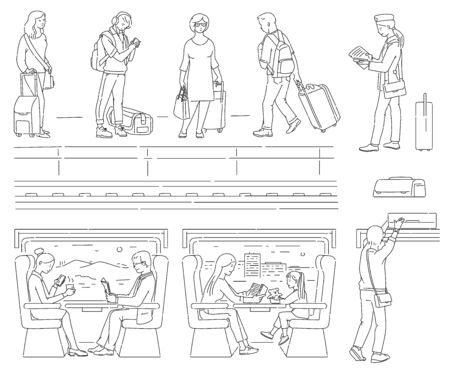 Public transportation set - cartoon people with luggage waiting for train and sitting inside moving carriage with window view. Coloring book page - isolated vector illustration