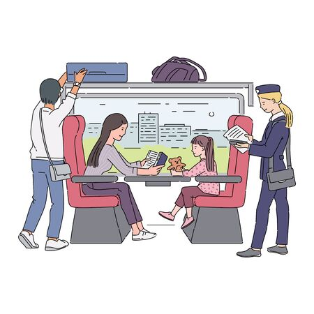 Cartoon people inside train car - woman and child sitting by the window, passenger putting his bag in overhead compartment. Railroad travel scene- isolated flat vector illustration Ilustração