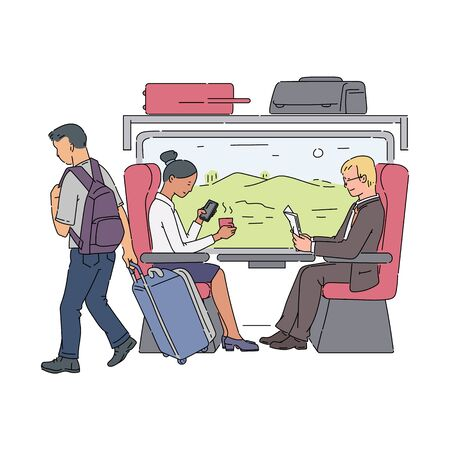 Train passengers sitting next to window - businessman reading newspaper and business woman drinking coffee. Railroad work commute travel - flat isolated vector illustration
