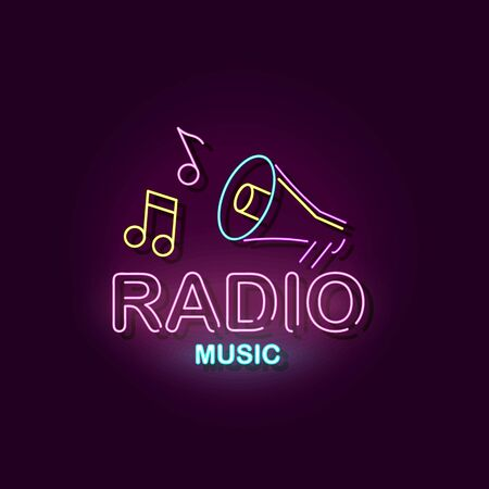 Radio music - colorful neon sign with megaphone icon and musical notes glowing on dark purple background - broadcast studio signboard, vector illustration