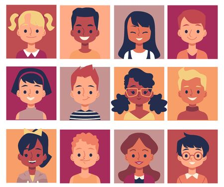 Happy cartoon children isolated portrait set - smiling elementary school age boys and girls in colorful square frames. Flat vector illustration on white background