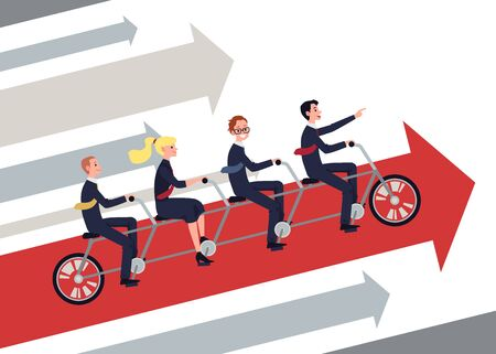 Team of business people riding tandem bike together - corporate men and woman moving in forward arrow in joined bicycle. Teamwork and goal success - flat vector illustration