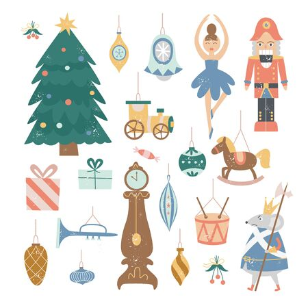 Nutcracker Christmas decoration set - vintage cartoon holiday tree ornaments and cute fairytale characters isolated on white background. Flat vector illustration