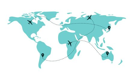 Airplane flight line paths going across blue world map - international plane travel scheme with route lines and aeroplane icons. Isolated flat vector illustration