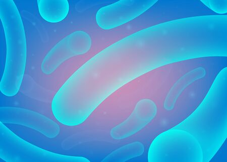 Microscopic blue probiotic bacteria background - microorganism shapes floating in abstract space. Micro biology science backdrop - vector illustration.