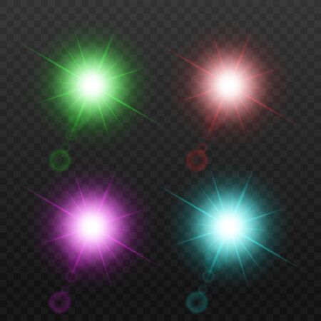Colorful star light and sparkle set isolated on dark background - green, red, purple and blue light flash shapes with realistic lens flare and sun beams. Vector illustration