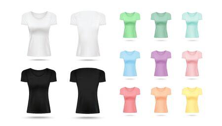 Realistisches Damen-T-Shirt-Modell in Schwarz, Weiß und bunter Pastellpalette einzeln auf weißem Hintergrund - schmal geschnittene Damenhemden in verschiedenen Farben, Vektorillustration Vektorgrafik