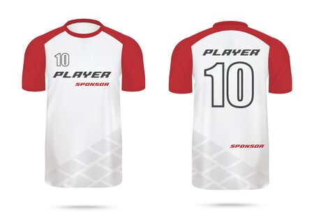 Men sport team shirt back and front view with red short sleeves, realistic vector mockup illustration isolated on white background. T-shirt template for sportive uniform.