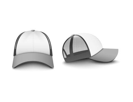 Cappellino trucker grigio argento e bianco con maglia frontale e laterale set di illustrazioni vettoriali realistiche mockup isolato su sfondo bianco. Modello di cappello uniforme aziendale.