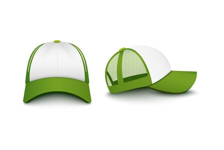 Trucker white cap with green visor and mesh front and back view mockup realistic vector illustration isolated on white background. Sun protective hat uniform template.