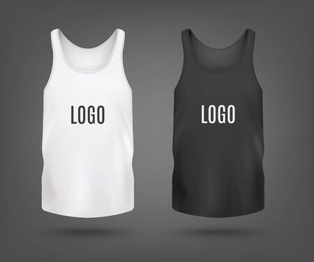 Black and white set of blank tank top or sleeveless shirt templates, realistic vector illustration isolated on background. Sport or casual cloth mockup front view.