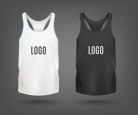 Set of blank black and white tank top or sleeveless shirt with T-back templates, realistic vector illustration isolated on background. Sport cloth mockup for brand logo.