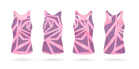 Women top tank or sport slimming fit sleeveless t-shirt with geometric pattern in pink and violet tints, realistic vector mockup illustration isolated on white background.