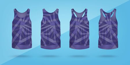 Women top tank or sleeveless t-shirt with geometric pattern realistic vector mockup illustration isolated on white background. Sport vest template in back and front view.