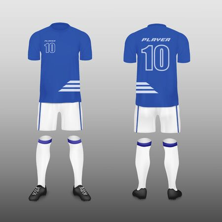 Soccer team uniform or football jersey kit design template including t-shirt and pants realistic vector illustration isolated on background. Sport club clothing mockup. Foto de archivo - 134874299
