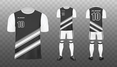 Soccer team player uniform or football club jersey template, realistic vector illustration isolated on transparent background. Sport clothing mockup in black and white. Banque d'images - 134874301