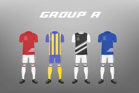 Soccer championship group A team players jersey designs set of four templates realistic vector illustration isolated on background. Sport football club clothing mockup. Banque d'images - 134874302