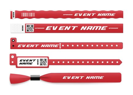 Red ID bracelet mockup set with sponsor and event name template. Realistic paper and plastic wristband mock up collection for concert admission - isolated vector illustration. Illusztráció