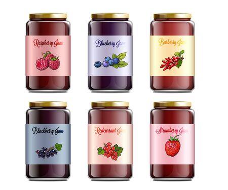 Satz Marmeladengläser, die mit verschiedenen Beerenbildern beschriftet sind, realistische Vektormodellillustration lokalisiert auf weißem Hintergrund. Vorlage für Süßwaren in Dosen.