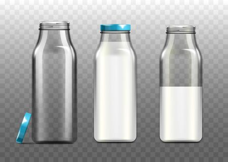 Glass milk bottles set - empty, half full and full, realistic vector illustration mockup isolated on transparent background. Dairy products unlabeled packaging template.