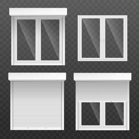 Satz Fensterrahmen mit offenen und geschlossenen weißen Jalousien oder Jalousievorhängen realistisches Vektormodell oder Vorlagenillustration einzeln auf transparentem Hintergrund. Vektorgrafik