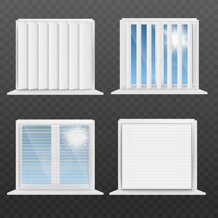 Set of window frames with open and half-closed white blinds or jalousie realistic vector mockup illustration isolated on transparent background. Rolling curtain template.
