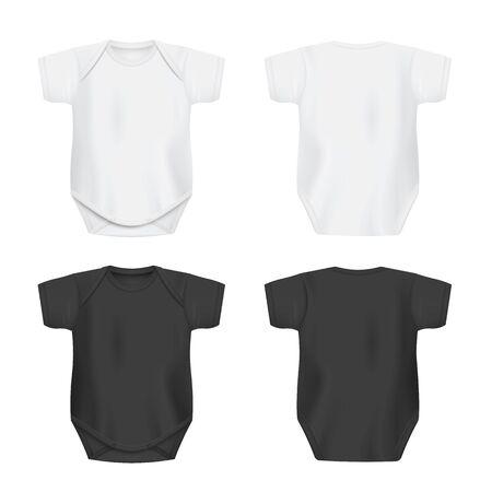 Weiße und schwarze leere Babybody-Vorlagen in Vorder- und Rückansicht, realistische Vektorillustration isoliert auf weißem Hintergrund. Kleidungsmodell für Neugeborene. Vektorgrafik